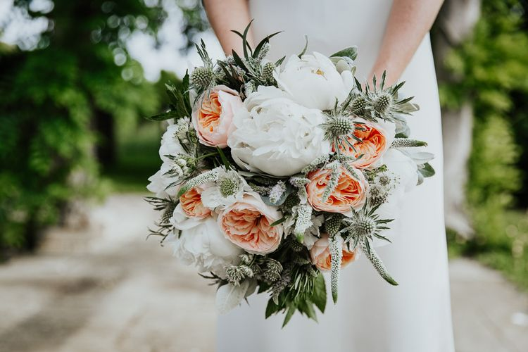 White Peonies, Peach David Austin Roses, Thistles and Foliage Wedding Bouquet