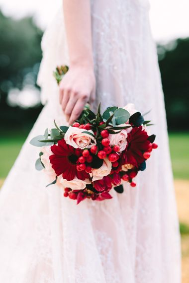 Red and Pink Wedding Bouquet with Gerberas and Roses