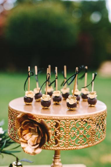Individual Treats on a Gold Cake Stand