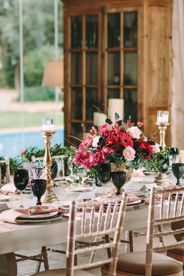 Floral Centrepieces with Red Gerbera's and Roses