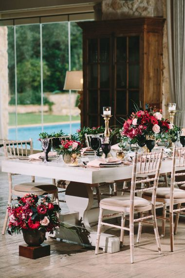 Red and Black Floral Arrangements and Tableware