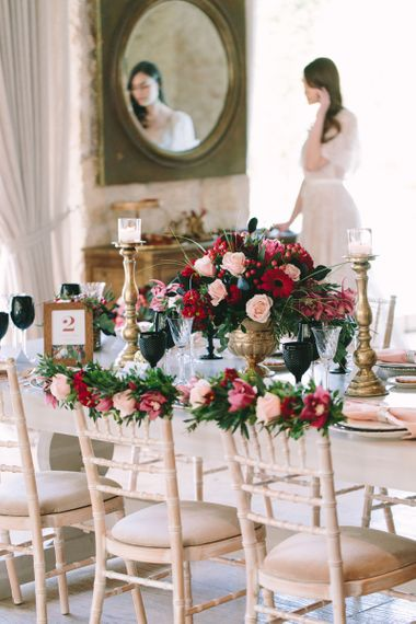 Pink and Red Floral Centrepiece and Chair Back Decorations