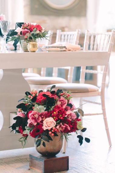 Pink and Red Wedding Flower Arrangement