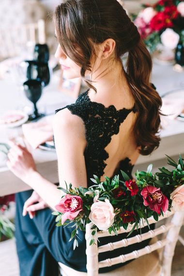 Bride in Black Wedding Dress with Key Hole Back Detail