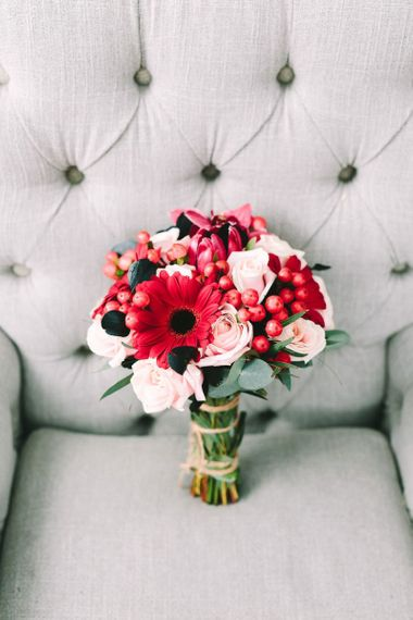 Pink and Red Wedding Bouquet with Gerberas and Roses
