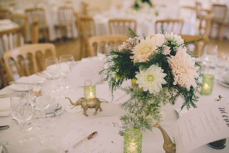 Table Settings. A Quintessentially British Venue at Cambridge Cottage, Royal Botanic Gardens Kew. Bride Wears Paloma Blanca from Pure Couture Bridal and Groom Wears Tailored Suit from Hackett London.