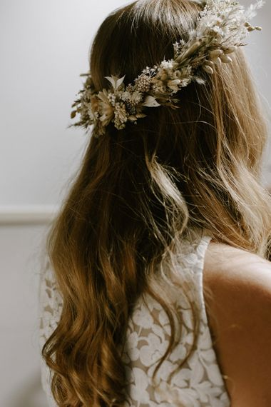 Dried flower crown with grasses