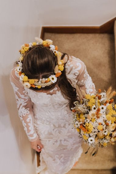 Yellow dried flower wedding crown