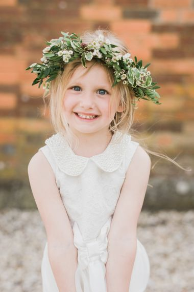 Flower girl in foliage flower crown