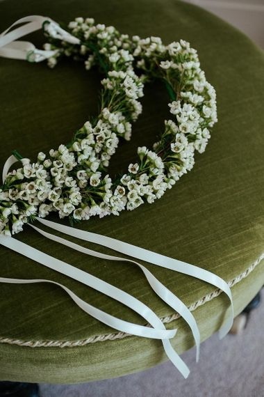 delicate green and white flower crown
