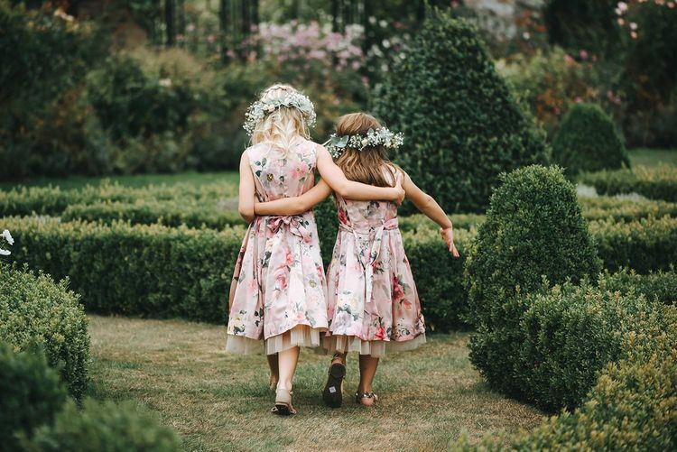 Pink floral dresses and flower crowns
