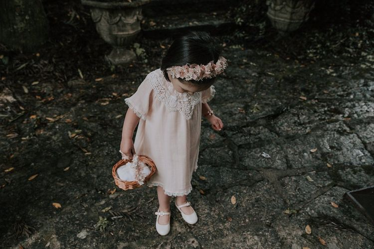 Pink and lace linen dress