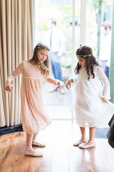 Peach and white linen smock junior bridesmaid dress