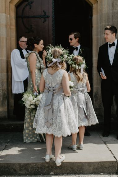 Traditional grey and white dresses with bows