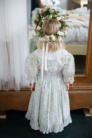 Floral flower girl dress with lace collar