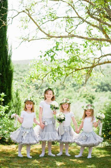Flower girls in grey tutu's and white bodys