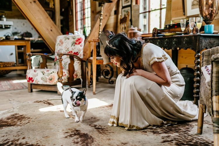 Bride in Vintage Wedding Dress and Bridal Crown with Pet Dog