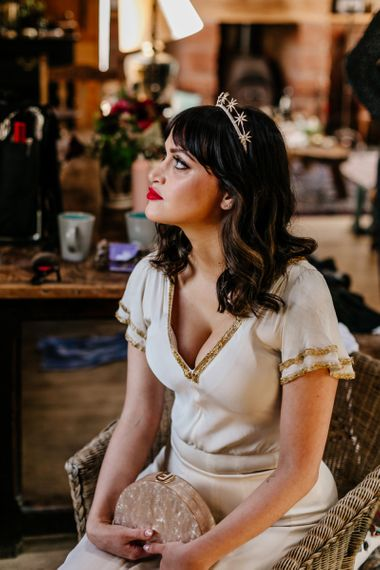 Beautiful Bride with Wavy Hair and Bridal Crown, with Red Lipstick, wearing a Vintage Wedding Dress-039