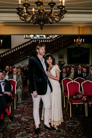 Wedding Ceremony with Stylish Bride in Vintage  Wedding Dress with Gold Trims and Groom in Velvet Blazer