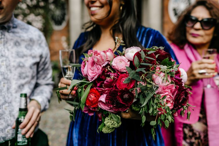 Deep Red and Pink Bridesmaid Bouquets with Foliage