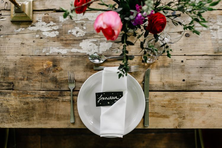 Place Setting with Gold Card Table Name Cards