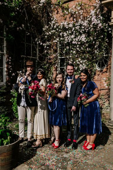 Wedding Party Portrait with Bridesmaids in Blue Velvet Dresses and Red Shoes, Bride in Vintage Wedding Dress and Groomsmen in Trousers and Blazers084