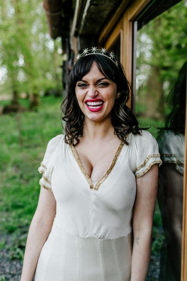 Smily Bride in Vintage Wedding Dress with Gold Trim  and Cap Sleeves