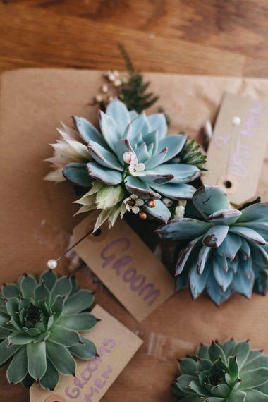 Succulent Buttonholes // Image By Jason Williams Photography