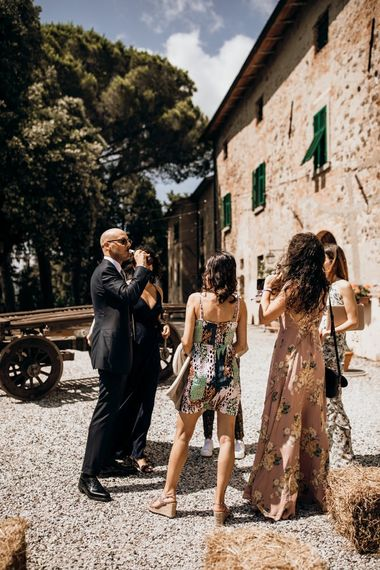 Guests gather at Tuscan wedding venue