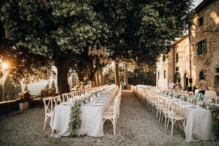 Stunning wedding table scape at Tuscan villa