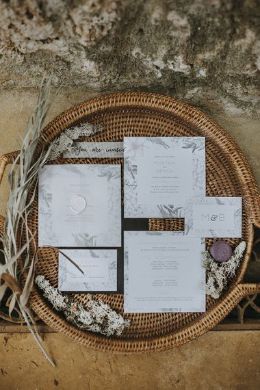 Folly & Gander Wedding Stationery Suite | Lavender, Peach & Black Geek Chic Wedding at Swiss Garden Fernery & Grotto, Shuttleworth | Planning & Styling by Rose & Dandy | Lola Rose Photography
