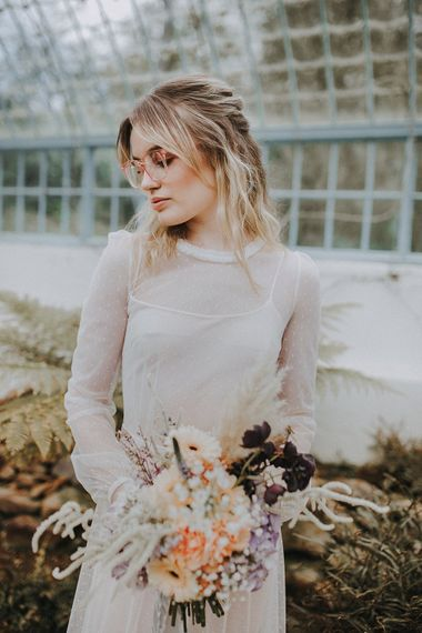 Bride in Glasses & Muscat Bridal Gown | Pastel Bouquet with Gerbera's & Hydrangeas | Lavender, Peach & Black Geek Chic Wedding at Swiss Garden Fernery & Grotto, Shuttleworth | Planning & Styling by Rose & Dandy | Lola Rose Photography