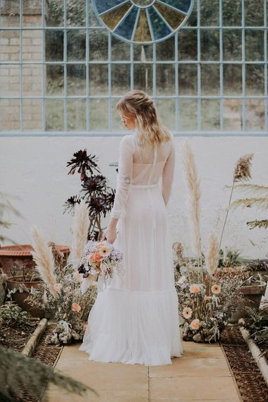 Bride in Glasses & Muscat Bridal Gown | Gerberas, Hydrangeas & Pampas Grass Wedding Flowers | Lavender, Peach & Black Geek Chic Wedding at Swiss Garden Fernery & Grotto, Shuttleworth | Planning & Styling by Rose & Dandy | Lola Rose Photography