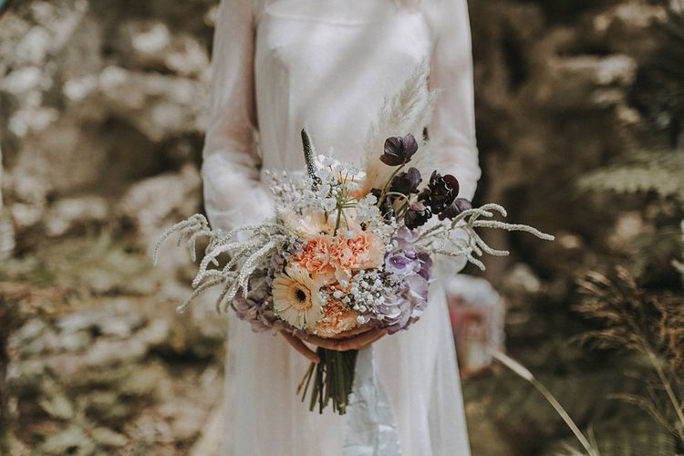 Pastel Bouquet with Gerbera's & Hydrangeas | Lavender, Peach & Black Geek Chic Wedding at Swiss Garden Fernery & Grotto, Shuttleworth | Planning & Styling by Rose & Dandy | Lola Rose Photography