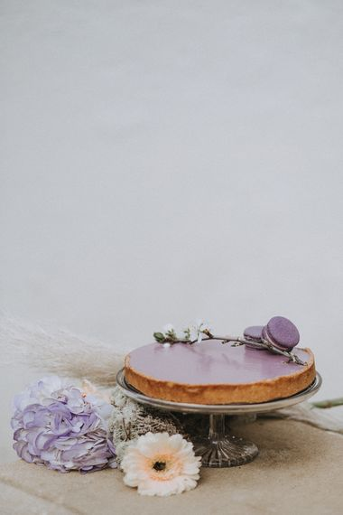 Lilac Tart by Gourmandisies Patisserie Chef | Lavender, Peach & Black Geek Chic Wedding at Swiss Garden Fernery & Grotto, Shuttleworth | Planning & Styling by Rose & Dandy | Lola Rose Photography