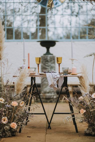 Tablescape | Hydrangea, Gerbera & Pampas Grass Wedding Flowers | Lavender, Peach & Black Geek Chic Wedding at Swiss Garden Fernery & Grotto, Shuttleworth | Planning & Styling by Rose & Dandy | Lola Rose Photography