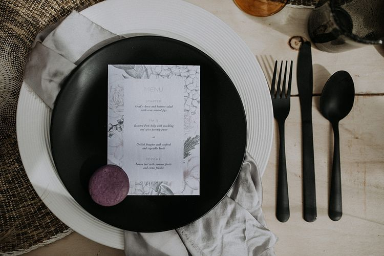Elegant Place Setting with Folly & Gander Menu Card | Lavender, Peach & Black Geek Chic Wedding at Swiss Garden Fernery & Grotto, Shuttleworth | Planning & Styling by Rose & Dandy | Lola Rose Photography
