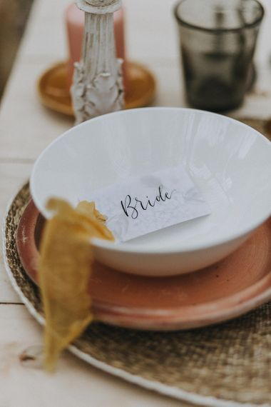 Place Setting with Folly & Gander Name Place Card | Lavender, Peach & Black Geek Chic Wedding at Swiss Garden Fernery & Grotto, Shuttleworth | Planning & Styling by Rose & Dandy | Lola Rose Photography