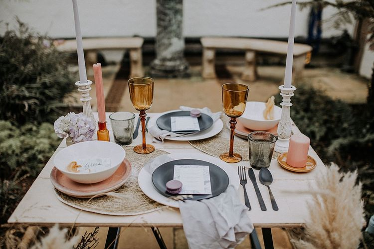 Elegant Table scape with Coloured Goblets, Taper Candes & Platters | Lavender, Peach & Black Geek Chic Wedding at Swiss Garden Fernery & Grotto, Shuttleworth | Planning & Styling by Rose & Dandy | Lola Rose Photography