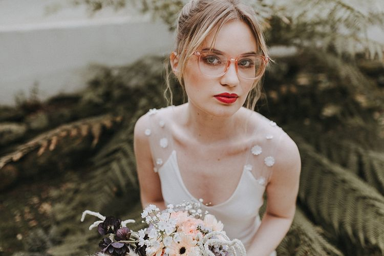 Bride in Glasses & Muscat Bridal Gown | Pastel Gerberas & Hydrangeas Bouquet | Lavender, Peach & Black Geek Chic Wedding at Swiss Garden Fernery & Grotto, Shuttleworth | Planning & Styling by Rose & Dandy | Lola Rose Photography