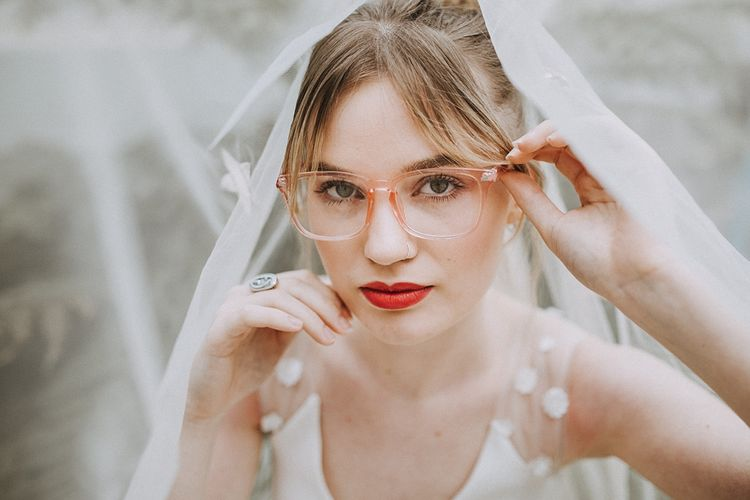 Bride in Glasses & Muscat Bridal Gown | Lavender, Peach & Black Geek Chic Wedding at Swiss Garden Fernery & Grotto, Shuttleworth | Planning & Styling by Rose & Dandy | Lola Rose Photography