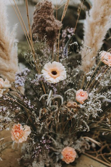 Hydrangea, Gerbera & Pampas Grass Wedding Flowers | Lavender, Peach & Black Geek Chic Wedding at Swiss Garden Fernery & Grotto, Shuttleworth | Planning & Styling by Rose & Dandy | Lola Rose Photography
