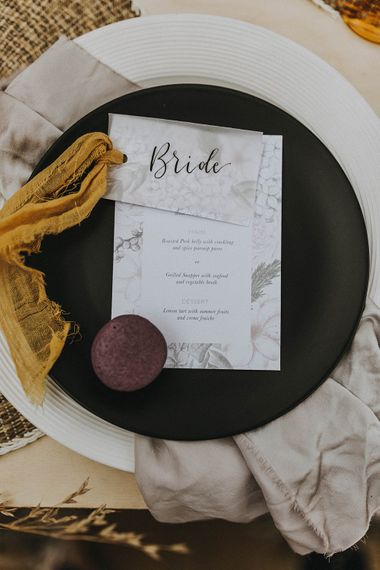 Place Setting with Folly & Gander Name Place Card & Menu | Lavender, Peach & Black Geek Chic Wedding at Swiss Garden Fernery & Grotto, Shuttleworth | Planning & Styling by Rose & Dandy | Lola Rose Photography