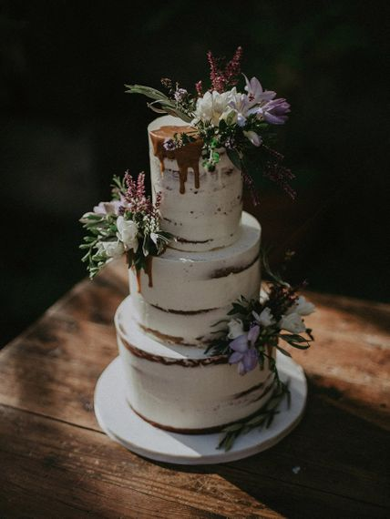 Semi-naked drip wedding cake