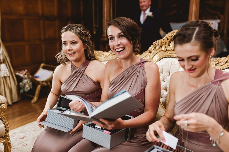 Bridesmaids In Mink Coloured Dresses // Geometric Details & Hanging Foliage For Hengrave Hall Wedding With Outdoor Reception With Images From Sam And Louise Photography