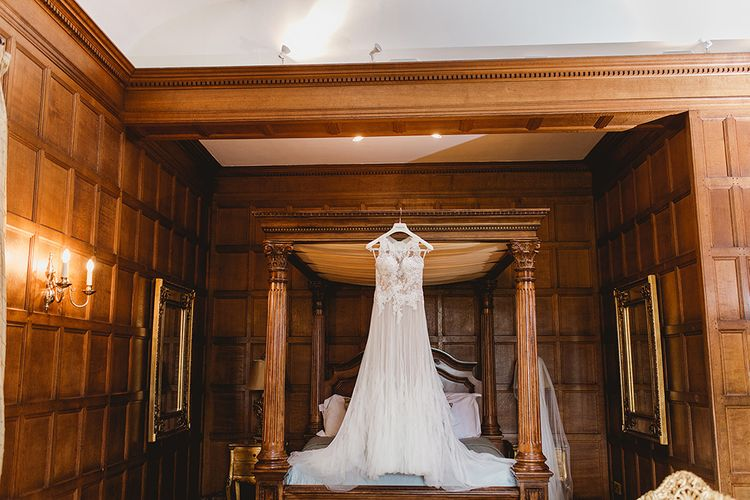 Sheer Tulle Wedding Dress // Geometric Details & Hanging Foliage For Hengrave Hall Wedding With Outdoor Reception With Images From Sam And Louise Photography