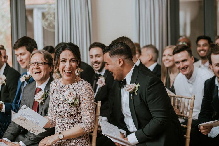 Wedding Ceremony Guests | Millbridge Court, Surrey Wedding with DIY Decor, Foliage & Giant Balloons | Nataly J Photography