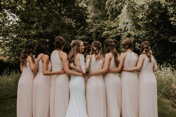 Bridal Party | Bridesmaids in Pink Pleated Dresses | Bride in Madison James Bridal Gown | Millbridge Court, Surrey Wedding with DIY Decor, Foliage & Giant Balloons | Nataly J Photography