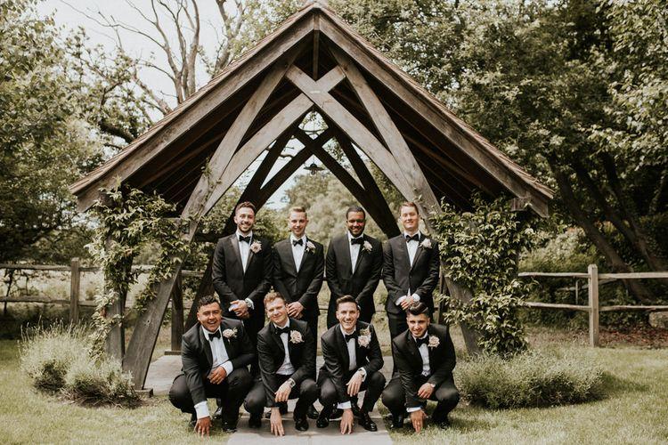 Groomsmen in Black Tie Charles Tyrwhitt Suits | Millbridge Court, Surrey Wedding with DIY Decor, Foliage & Giant Balloons | Nataly J Photography