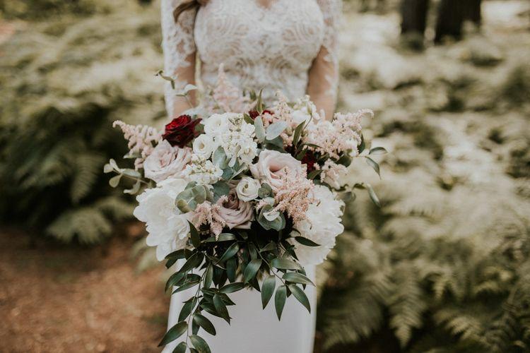 Romantic Pink & White Rose Bouquet | Millbridge Court, Surrey Wedding with DIY Decor, Foliage & Giant Balloons | Nataly J Photography